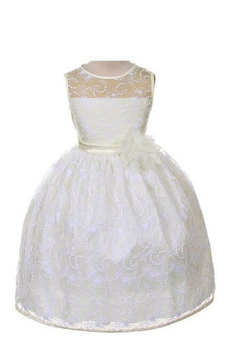 Elegant Tea Length Dress with Top Quality Lace Fabric - Ivory, Size 4
