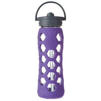Lifefactory Glass Water Bottle With Flip-Top Straw, 22 Oz. Royal Purple
