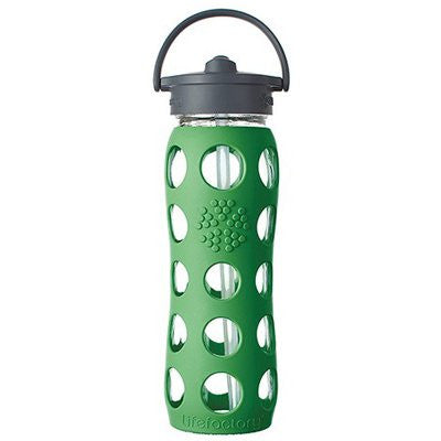 Lifefactory Glass Water Bottle With Flip-Top Straw, 22 Oz. Grass Green