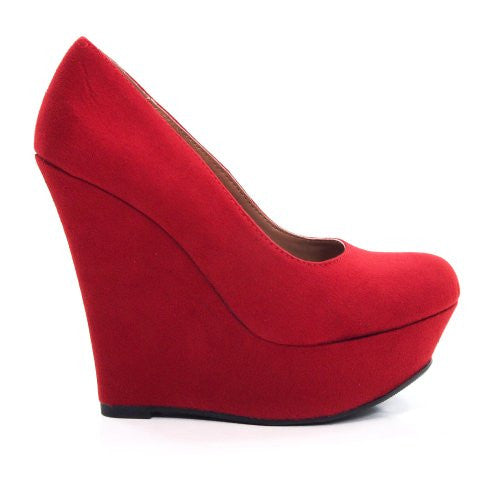 Delicious Shoes Meroz-S Faux Suede Platform Wedge, Red, US 8.5