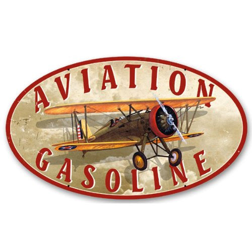Aviation Gasoline oval metal sign measures 14 inches by 24 inches