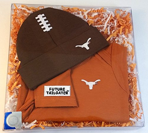 Texas Longhorns Football Hat And Onesie Baby Gift Set (NB - 3 Months, School Color)