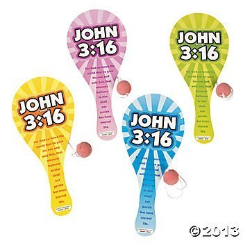 Wooden John 3:16 Paddleball Games 12pcs