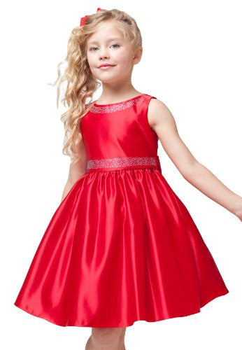 Satin Dress with Glitter Sparkle Accents - Red, Size 12