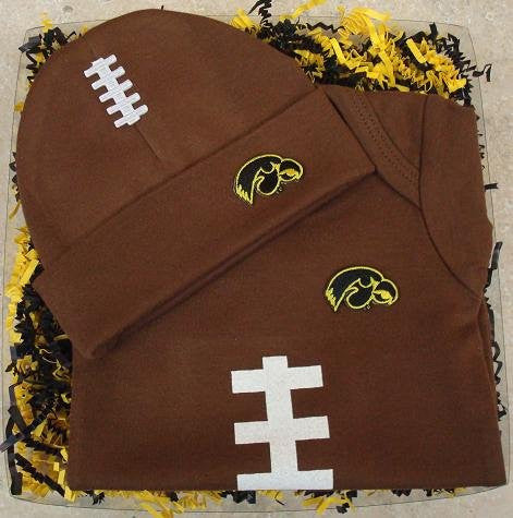 Iowa Hawkeyes Football Onesie And Football Hat Baby Gift Set (NB - 3 Months, Brown)