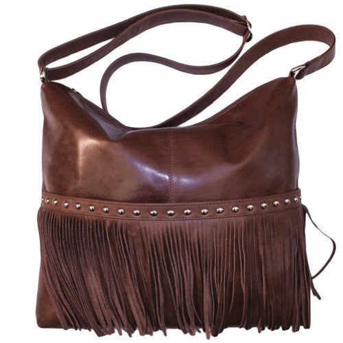 Cowhide Crossbody Bag with Adjustable Shoulder Strap - Toffee