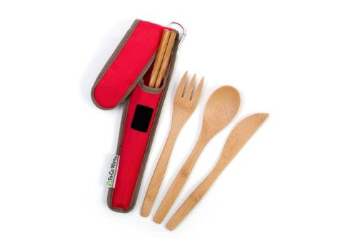 Eco-friendly Reusable Bamboo Utensil Set by To-Go Ware (Cayenne)