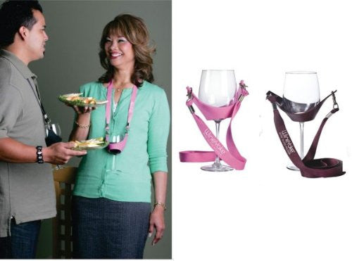 Wine Yoke Wine Glass Holder, 1 Pink and 1 Burgundy