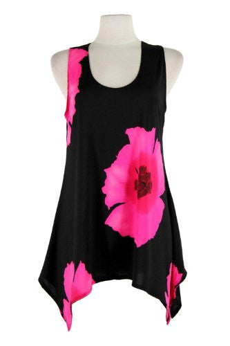 HIT Side Drop Tunic Sleeveless/Print - Pink, Medium