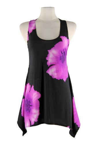 HIT Side Drop Tunic Sleeveless/Print - Purple, Medium