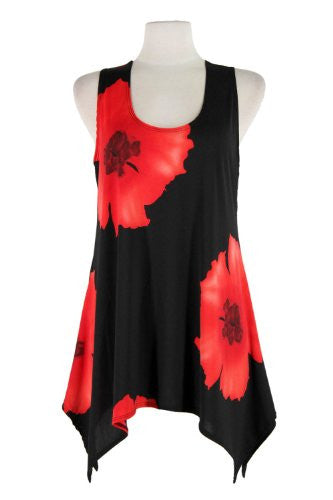 HIT Side Drop Tunic Sleeveless/Print - Red, X-Large