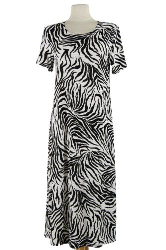Jostar Stretchy Long Dress with Short Sleeve, Print in Animal Design Black Color in Medium Size
