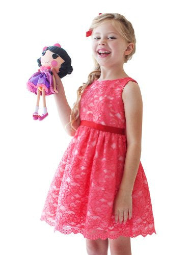 Soft Quality Lace Girl Dress - Coral, Size 4