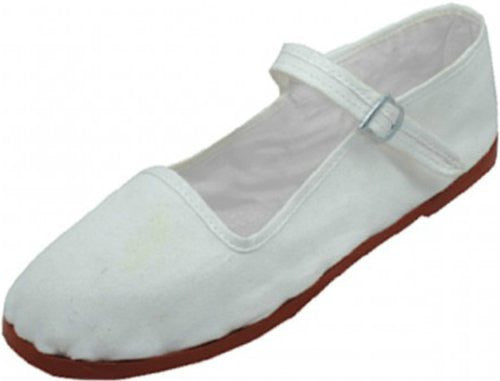 Wholesale Women's Classic Cotton Mary Jane Shoes - White, Size 8