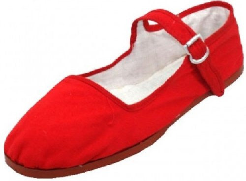 Wholesale Women's Classic Cotton Mary Jane Shoes - Red, Size 5