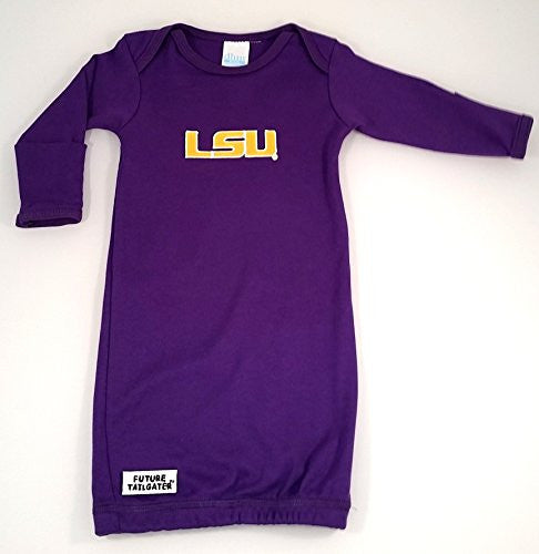 LSU Tigers Layette Gown (NB - 3 Months, School Color)
