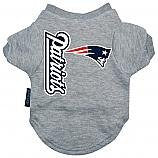 New England Patriots Dog Tee Shirt, gray, x-large