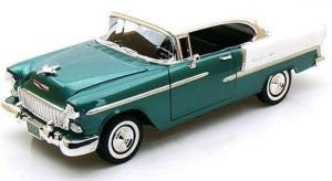Motormax Premium American - Chevy Bel Air Hard Top (1955, 1/18 scale diecast model car, Green & White)