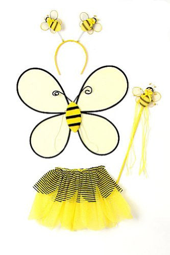 Bumble bee 4 pcs set : wings, tutu, wand and hair band