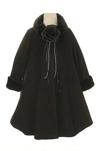 Cozy Fleece Long Sleeve Cape Jacket Coat - Black, Size 8