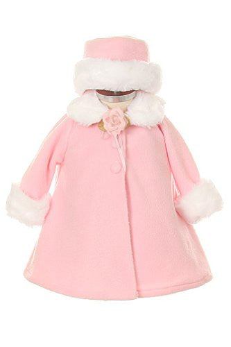 Cozy Fleece Long Sleeve Cape Jacket Coat - Pink, Small