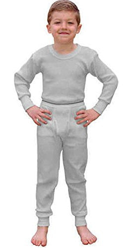 Indera Boys Thermal Shirt and Pant Set in Natural (Grey / Medium / 10-12)