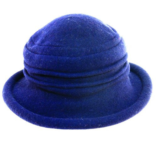 Scala Collezione Women's Boiled 100% Wool Cloche Hat (Cobalt / One Size)