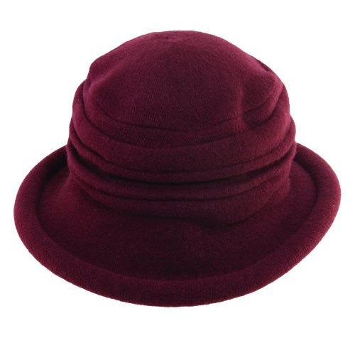 Scala Collezione Women's Boiled 100% Wool Cloche Hat (Bordeaux Wine / One Size)