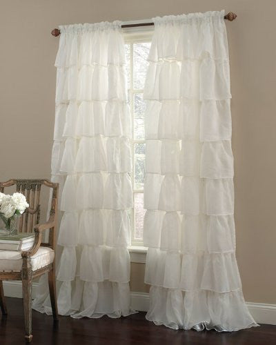 "Cream 96"" Long Gypsy Shabby Chic Semi Sheer Ruffled Window Curtain Panel"