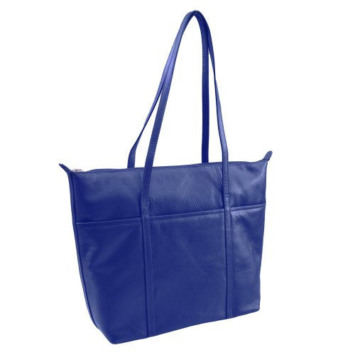 Zip top tote with three slide pockets on front - Cobalt Blue