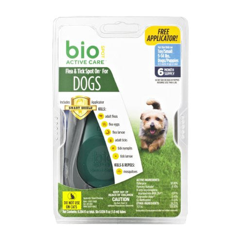 Bio Spot Active Care Flea & Tick Spot On With Applicator for Small Dogs (5-14 lbs.)  6 Month Supply
