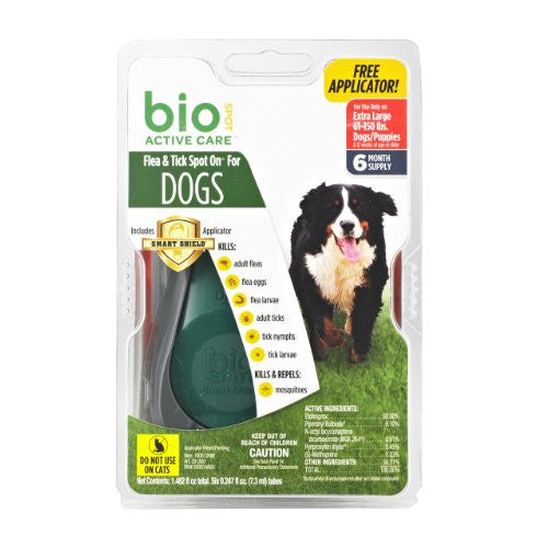 Bio Spot Active Care Flea & Tick Spot On With Applicator for Extra Large Dogs (61-150 lbs.) 6 Month Supply