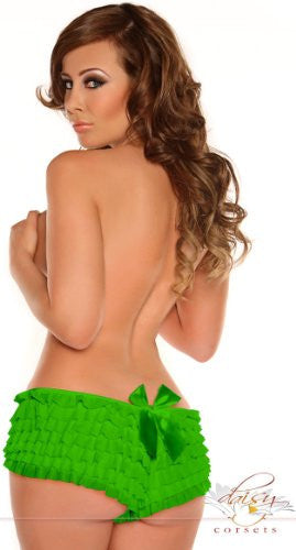 Green Mesh Ruffle Panty w/ Bow Lined, Small