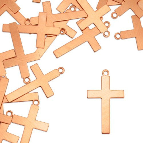 "Cross w/ Ring, 1 1/4""- Stamping Blank - Copper (24pc)"