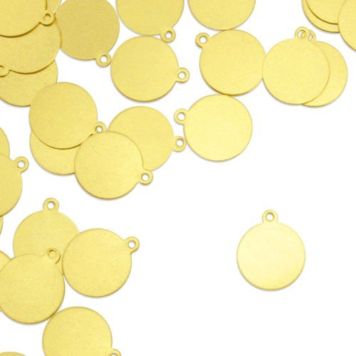 "Circle Tag w/ Ring 5/8""- Stamping Blank - Brass (24pc)"