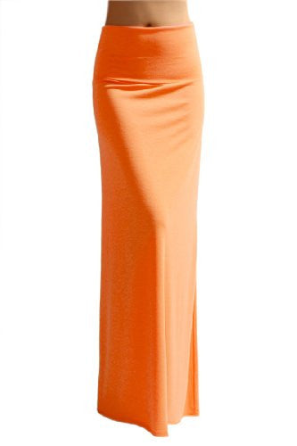 Azules Women's Rayon Span Maxi Skirt (Orange Pink / X-Large)