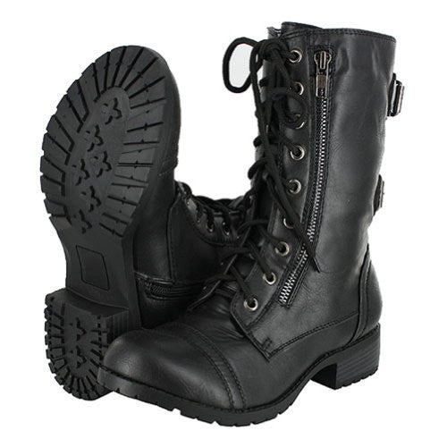 Women's Combat Military Cowboy Mid Calf Rubber Sole Lace up Ankle Buckles Strap Stean Punk Round Toe Flat Heel Motorcycle Casual Combat Boots Fashion Designer Comfort Shoes,8.5 B(M) US,Premium Black