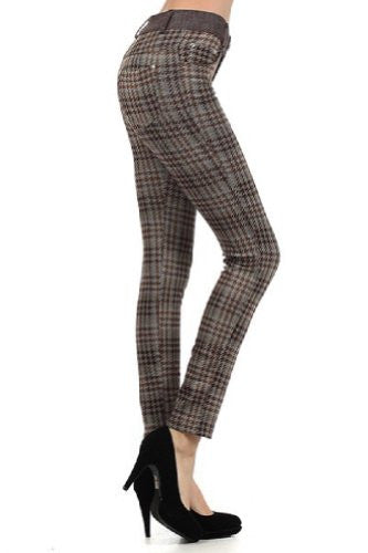 Yelete Houndstooth Plaid, 5-Pocket Jersey Leggings - Coffee M