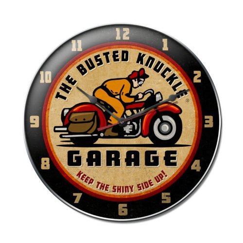 Busted Knuckle Retro Rider Motorcycle Vintage Metal Clock 14 X 14 Not Tin