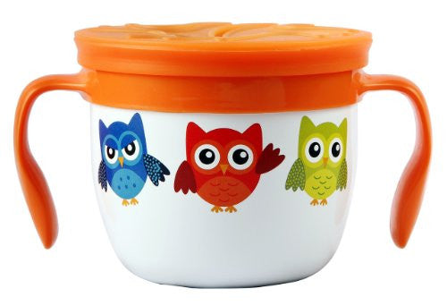 """Gobble n Go"" Kids' Stainless Steel Snack Cup with Slotted Silicone Top - White Owl"