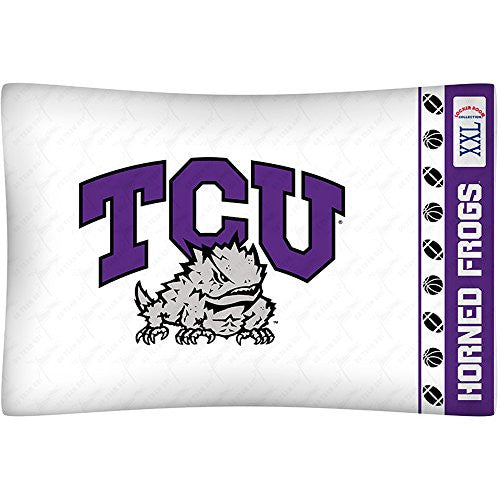MICRO FIBER PILLOW CASE Texas CU Horned Frogs - Color White - Size Stan
