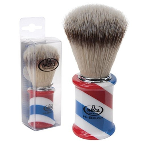 Synthetic Bristle Shave Brush Red, White and Blue Striped Handle