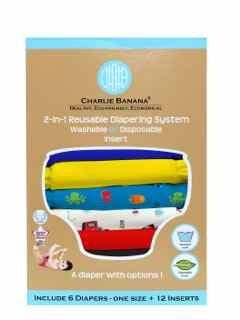 Charlie Banana 2-in-1 Reusable Diapering System, 6 Diapers plus 12 Inserts, Under the Sea, One-Size