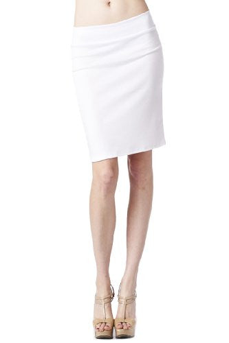 Women'S Ponte Roma From Office Wear to Casual Above Knee Pencil Skirt - Solid (White / Large)