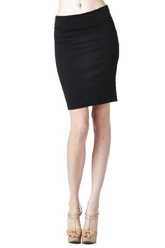 Women'S Ponte Roma From Office Wear to Casual Above Knee Pencil Skirt - Solid (Black / Large)