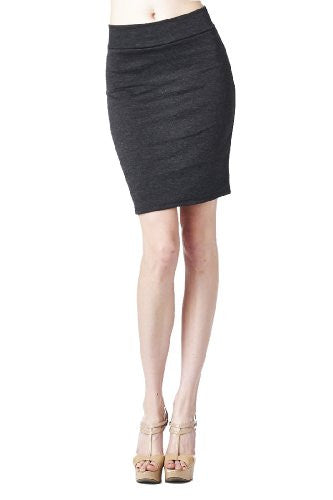 Women'S Ponte Roma From Office Wear to Casual Above Knee Pencil Skirt - Solid (Charcoal / X-Large)