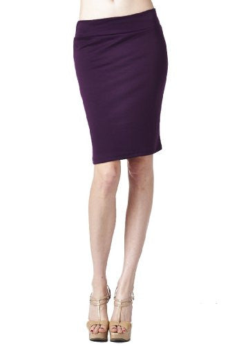 Women'S Ponte Roma From Office Wear to Casual Above Knee Pencil Skirt - Solid (Eggplant / Large)