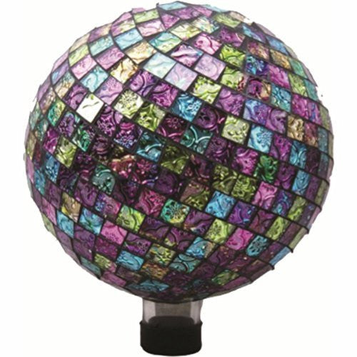 VERY COOL STUFF EMBOSSED GLASS GAZING GLOBE PINK/PRPL/GREEN 10 INCH
