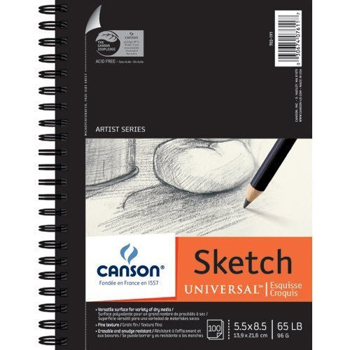 "Canson Universal Spiral Sketch Book 5""X8"", 100 Sheets"