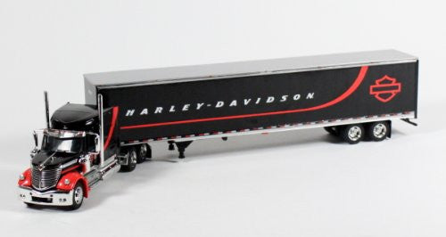 Die-cast-Promotions Harley-Davidson - International Lonestar Tractor Trailer (1/64 scale diecast model, Black)